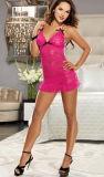 Lingerie sexy femmes de couleur rose Backless Halter Nuisette robe de vêtements de nuit