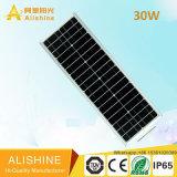 Ce/EMC/IEC/BV/LVD/Ies 30 와트 LED 통합 태양 에너지 정원 가로등