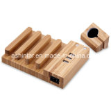 cargador USB 3A de madera de bambú de carga Universal Dock Station Soporte Soporte de teléfono móvil