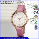 ODM correa de cuero de moda señoras reloj de cuarzo Relojes de Pulsera (Wy-052E)