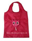Sacchetto ecologico di acquisto pieghevole, stile animale del gatto, sacchetti di drogheria e pratico, promozione, peso leggero, accessori & decorazione, riutilizzabili