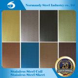 201 Plaque en acier inoxydable gaufré, gravure, de couleur