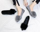 نساء [بوم] [بوم] الزلّة زغبة على باليه شقوق ساندة أحذية