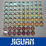 Стикер Hologram обеспеченностью 3D круглой конструкции дешевый лоснистый серебряный