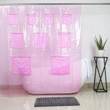 분홍색 메시 포켓으로 인쇄되는 싼 PVC 샤워 커튼