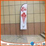 Toalhetes tricotados em poliéster Bandeira de praia de penas de impressão personalizado