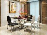 현대 Tempered Glass 또는 Marble Top Stainless Steel Dining Table
