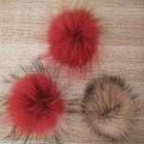 長い毛の実質のアライグマの毛皮POMの帽子POM POM Keychains