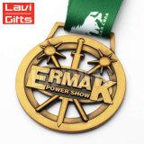 Il commercio all'ingrosso ha reso personale la medaglia su ordinazione del premio di sport del metallo con la barra del nastro