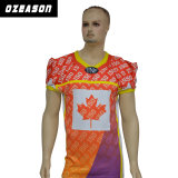 Zoll-völlig Spandex integriertes sublimiertes Kanada-Ahornblatt-amerikanischer Fußball-Hemd
