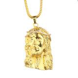 Grande collana Pendant Mjhp064 del Christ della parte capa del Jesus dell'oro 24K