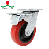 Red PU girar com travão Total Rodízio de Serviço Pesado