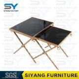 Hotel-Möbel-seitlicher Stahltisch-Glaskaffeetisch für Verkauf