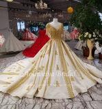 Aoliweiya goldenes Spitze-Ordnungs-Satin-Hochzeits-Kleid