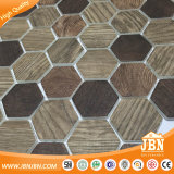 Hexagon-hölzerne Entwurfs-Qualitäts-Glasmosaik-Fliese (V645009)
