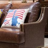 Sala de estar com design moderno mobiliário sofá de couro (como849)