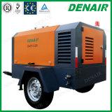 Compresor de aire movible portable movible diesel del tornillo de 4 cilindros Ued para la máquina del hormigón proyectado