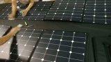 100W SunpowerのFoldable適用範囲が広く柔らかい伸縮性がある携帯用太陽携帯電話力パネルの布の充電器袋