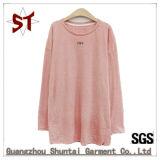여자를 위한 도매 고품질 순수한 색깔 우연한 긴 t-셔츠