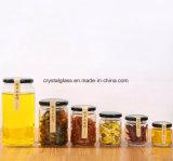 Pot de miel alimentaire hexagonale en verre avec couvercle de métal