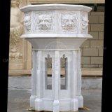 Il giardino domestico piacevole decora il vaso di fiore di marmo bianco (GSP-111)