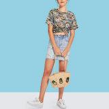 Camo와 꽃 인쇄 t-셔츠