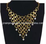 La cadena de oro rosa Collar Gargantilla de cristal/ collar chapado en oro de la cadena /exóticas exótico estilo (PN-079)