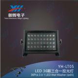 36PCS*3W RGB 3in1 farbenreiches IP65 imprägniern LED-Wand-Unterlegscheibe-im Freienlicht