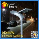 Lampada di via solare con l'angolo registrabile del comitato solare su una strada principale dei due gradi