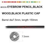 Деревянный косметический карандаш для брови с черной пластичной крышкой