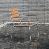 Conjunto de mesa de jantar em madeira de teca com 1,5 * 1,5 m de aço inoxidável quadrado