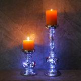 A decoração da casa de efeito metálico prateado Pilar de vidro suporte para velas