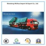 De Semi Aanhangwagen van de vrachtwagen met de AchterKipwagen van 3 Assen/Tippe van Leverancier