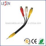 AV kabel, 3.5mm de Stereo-installatie van 4 Kernen aan 3 RCA Jack