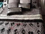 4 pedaços Polyslub Sequins Flowers Linho de cama Conjuntos de capa de edredon