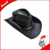 Chapéu unisex de papel preto do chapéu de vaqueiro da palha