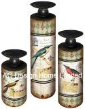 木S/3花デザイン型の骨董品MDFか金属のペーパーステッカーシリンダー円形の蝋燭ホールダー