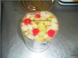 Tamanho do retalho Tamanho restos de conservas de frutas coquetel nas vendas
