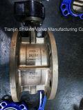 Edelstahl-funktionieren doppeltes geflanschtes Drosselventil mit Getriebe