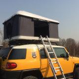 白いシェルの灰色のキャンバス車の屋根の上のテント