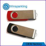 Mecanismo impulsor promocional del flash del USB del eslabón giratorio caliente con insignia