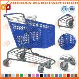 Grand caddie en plastique de chariot à achats de main de Voulume de mode (Zht88)