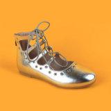 Плоский серебристый металлик ноги соединительных ботинки сандалии для девочек подросткового возраста