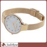 Золотистый роскошный wristwatch полосы сетки нержавеющей стали для повелительницы