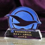 Trofeo di cristallo di successo reso personale nuovo disegno della Cina con la curvatura blu