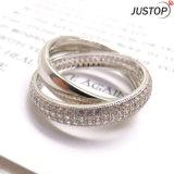 Сверкная кольцо креста белого золота цвета Zircon каменное серебряное с латунной медью для партии