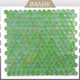 Зеленый Пенни раунда стеклянной мозаики плитка для интерьера оформление