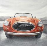 Venta caliente coche naranja Pintura al Óleo hechas a mano para el arte de pared