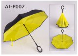 Cの形のハンドルの二重層の逆の折る傘
