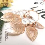 模造宝石類のたがは女性のための真鍮の銅の葉形の円のイヤリングを魅了する